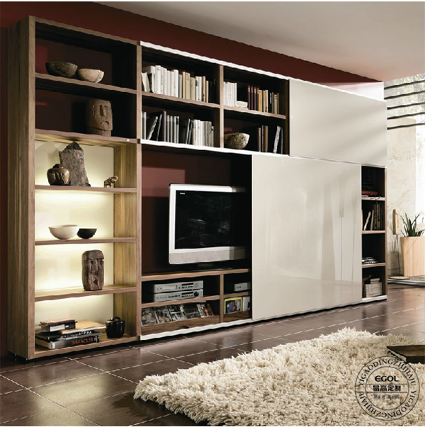 浓郁北欧风设计,简欧风格追求简约,电视柜用色素雅,原木色和象牙白双
